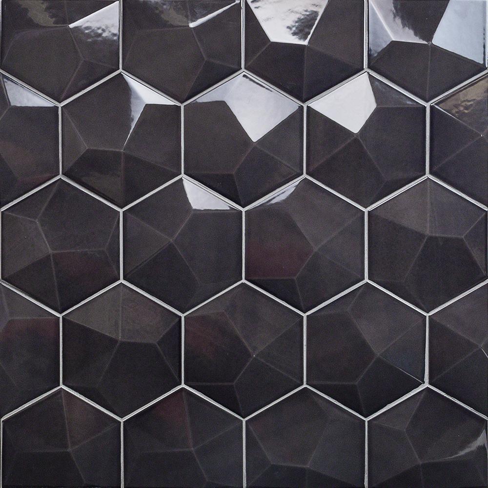 Зеленая черная Шестигранная мозаичная плитка из хрустального стекла, настенная плитка, подходит для бассейна или украшения стен