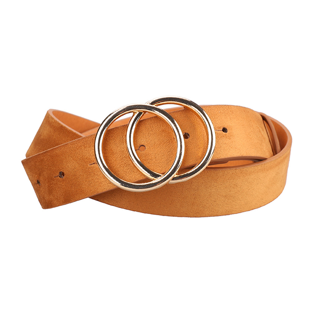 Amazon Hot selling PU Leather Belt Double O Ring Soft Faux Leather Waist Belt for Ladies Jeans Pants