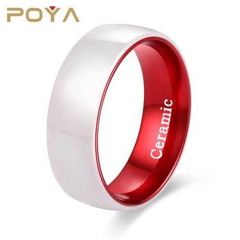 POYA Jewelry 8mm White Ceramic Ring Wedding Band Polished Finish Red Interior Comfort Fit