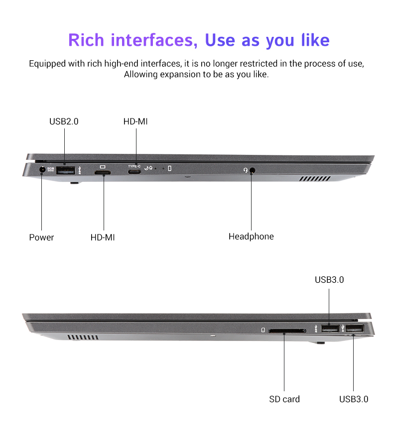 Support Customized 13.3 Inch 14inch 15.6inch Super Slim with I7 CPU 8GB Ram OEM Laptop Computer for Education