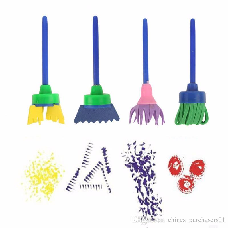 4 шт./лот детские игрушки для рисования, инструменты для рисования своими руками, Креативный цветочный штамп, набор губчатых кистей, художественные принадлежности для детей