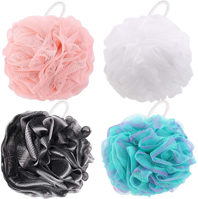 Chinese Products Wholesale 60g/pcs Multi Color Bath Puffs Body Scrub Loofahs Bath Sponge