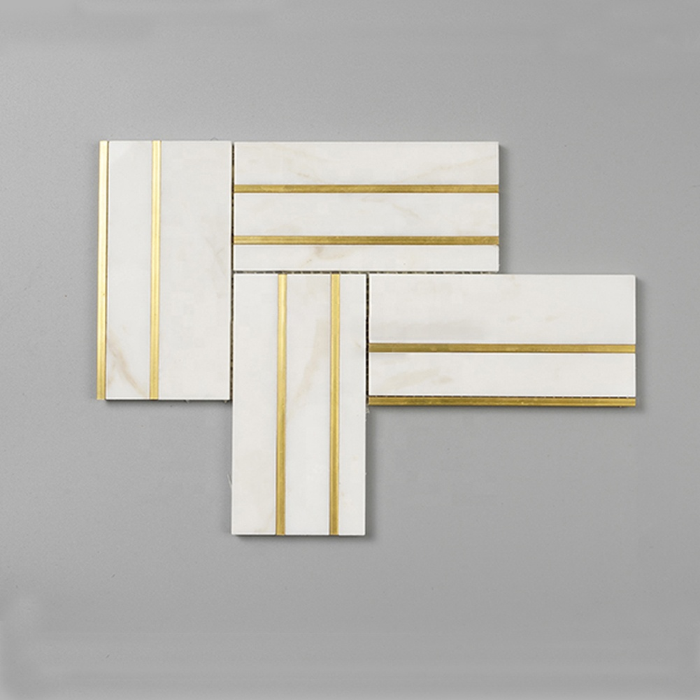 Century Mosaic Marble Mosaic Tile Marble and Brass Inlay Mosaic with Brass Collection