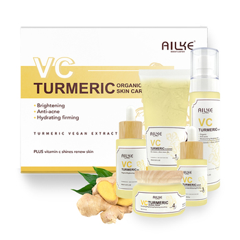 AILKE Private Label Vitamin C Skin Care Cosmetics Anti Acne Whitening Tightly Brightened Turmeric Plant SkinCare Set