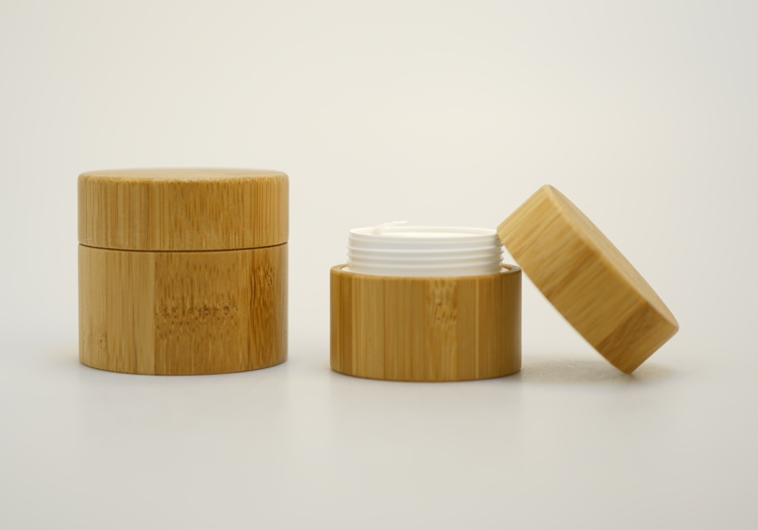 Ready to ship bamboo cosmetic packing full range15g 30g 50g empty inner PP skin care cream jars container