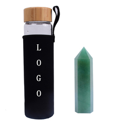 Custom logo Natural Crystal Wand Infused Gemstone Crystal Points Crystal Water Bottle