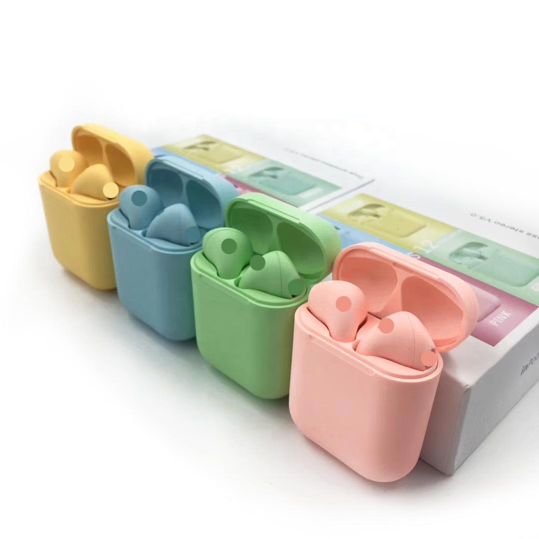 Optional Color Matte Touch Macaron Wireless Headset Mini Earphone Inpods i12 5.0 Custom Earbuds i12 TWS - idealBuds Earphone | idealBuds.net