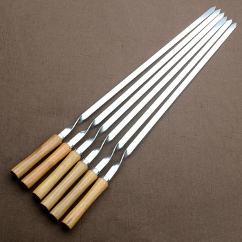 55cm Stainless Steel BBQ Skewers Wooden Handle BBQ Fork Shish Kebab Barbecue Grill Long Flat Meat Skewers
