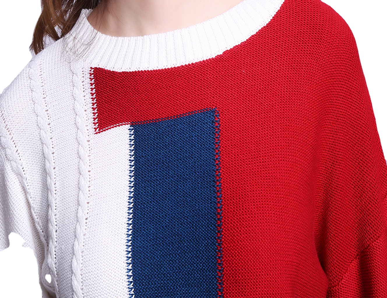 Promotion high quality fine quality women ladies wool knitted sweater textured white knit tops