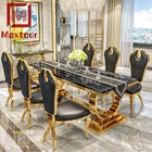 Furniture table for dinner dubai gold rectangle luxury 8 Seater marble dinning set table