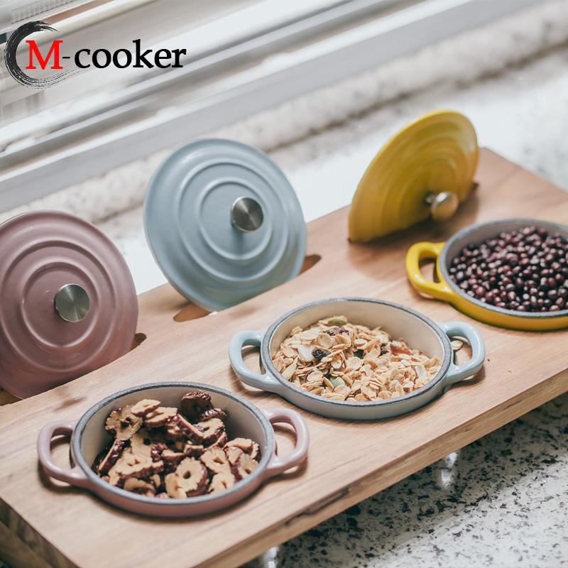 Эмалированная чугунная металлическая десертная маленькая кастрюля для приправ