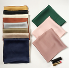 Fashion Solid Kerchief Women Head Scarf For Hair Pink Green White 100% Silk Neck Scarves Female Square Bandanas Lady Scarves