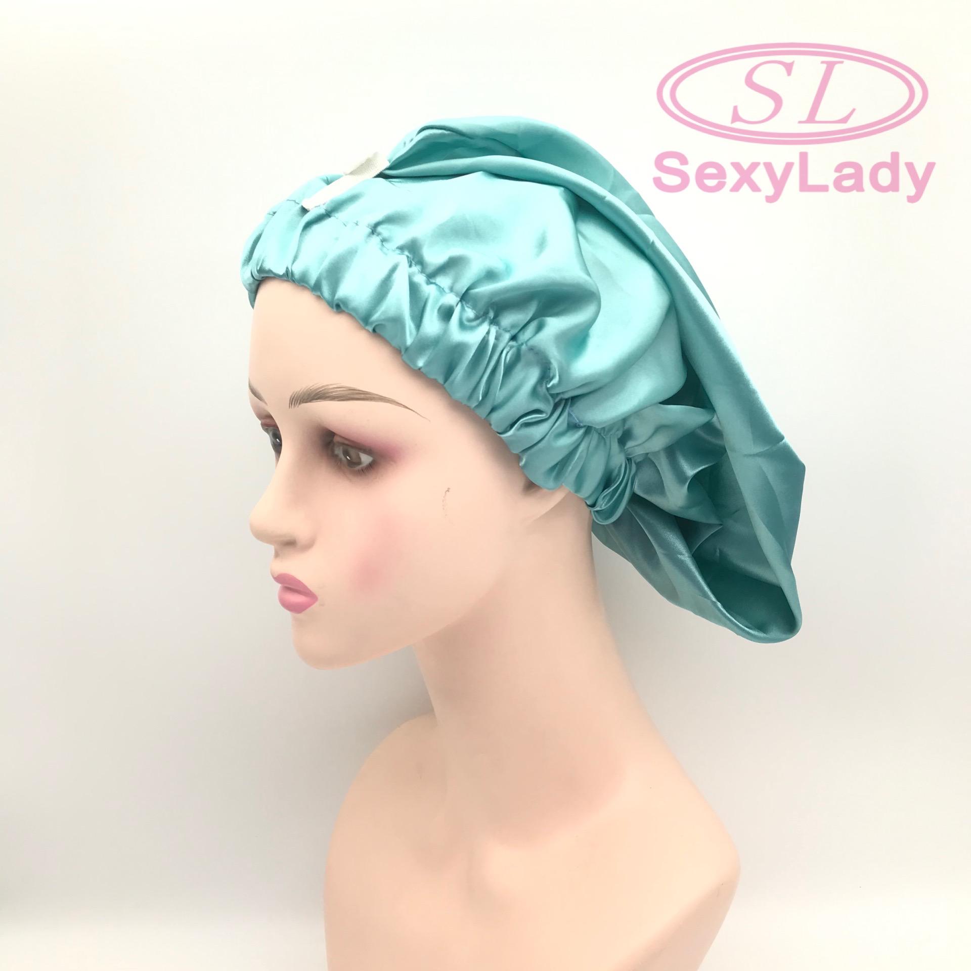 womens braid bonnet new fashion long bonnet with button satin bonnets with logo custom