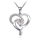 Heart Pendant Hot Sale 925 Sterling Silver Rhodium Plated Cz Diamond Custom Heart Love Pendant Necklace For 2021 Women