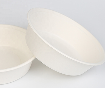 850ml Biodegradable Bagasse Disposable Green Round Bowl