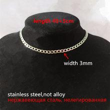 Женское колье-чокер из нержавеющей стали, Массивное колье-чокер в стиле хип-хоп из нержавеющей стали серебристого цвета(Китай)