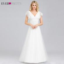 Ever Pretty-элегантные кружевные свадебные платья EP00857WH, A-Line с двойным V-образным вырезом и вышивкой, простые свадебные платья 2020(China)