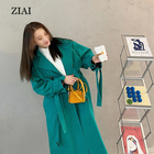 Spring New Style Green Fashionable Casual Windbreaker Women Loose Mid-length Korean Style Jacket