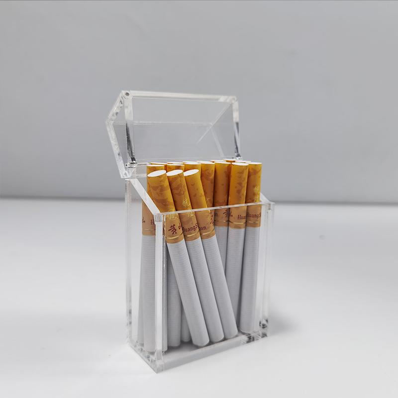 Yageli, китайский производитель, индивидуальный дизайн, прозрачный 20 загруженных модных акриловых тонких дозаторов для сигарет, коробка для хранения с откидной крышкой