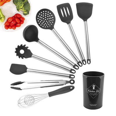 8pcs Silicone Cooking Kitchen Set, Stainless Steel Handles Cooking Tool BPA Free Non Toxic Silicone Turner Tongs Spatula