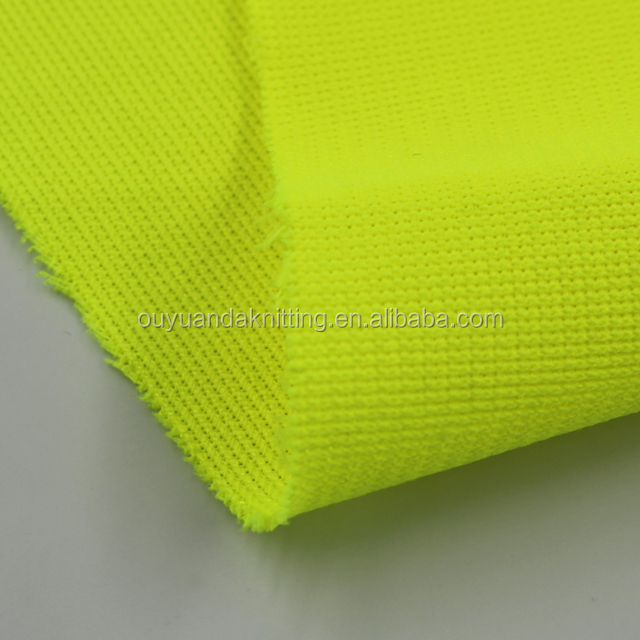Warp Knitted 100% Polyester High Visibility Safety Vest Fabric Fluorescent Fabric