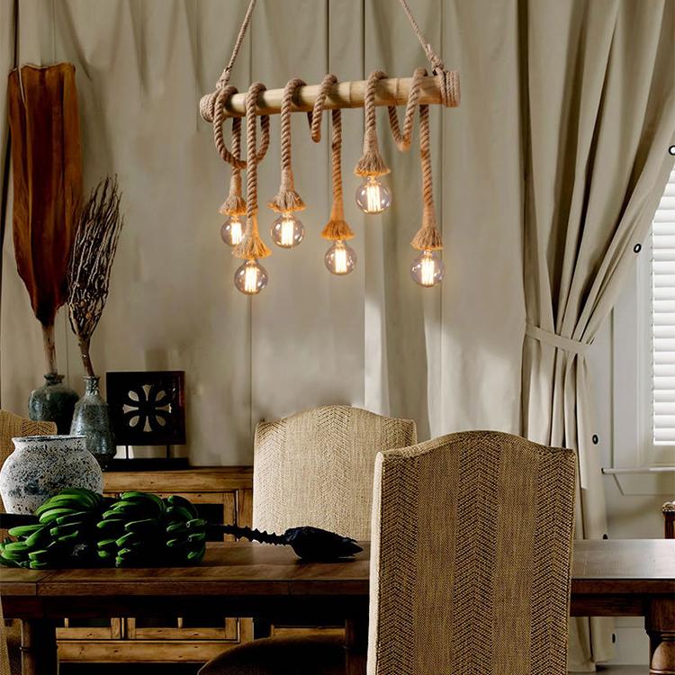 Креативный подвесной светильник из натурального бамбука, подвесной светильник для ресторана, люстра с веревкой, освещение