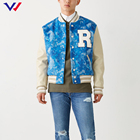 Jacket Chaqueta Customized Streetwear Hip Hop Applique Embroidery Baseball Bomber Jacket With Leather Sleeves