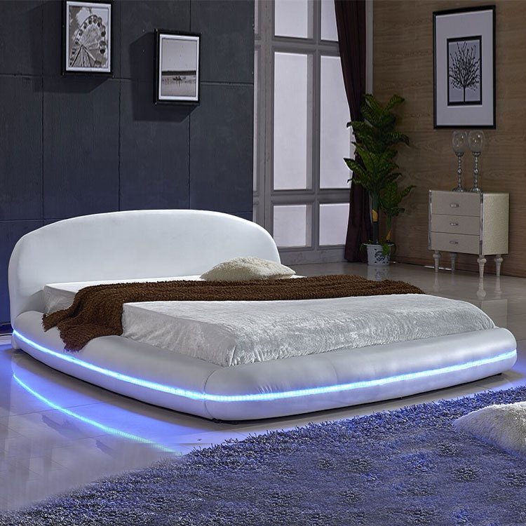 Hot sell classical king size white round bed headboard double LED bed with LED light