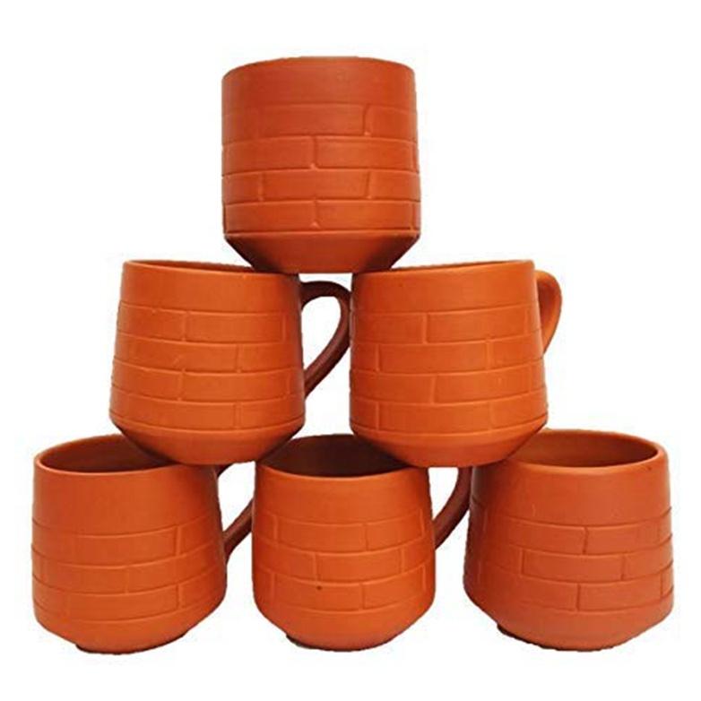 6 unidades, 200 ml Earthen Juego de vasos de arcilla