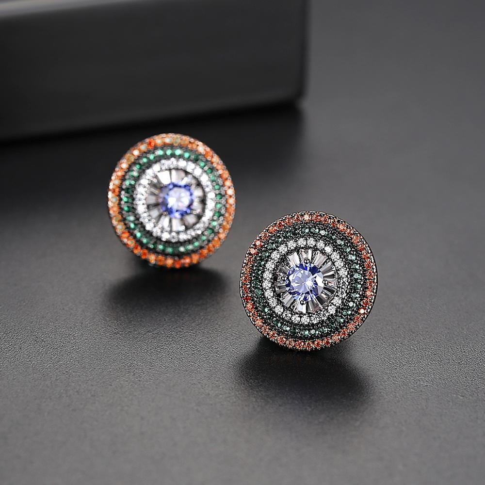 LUOTEEMI Colorful Round Pave Cubic Zircon Stud Earring of Vintage Style for Trendy Woman Jewelry