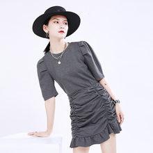 Женское платье EAM, серое плиссированное платье с коротким рукавом, круглым вырезом и буфами, весенне-летняя мода 2020 1U168(Китай)
