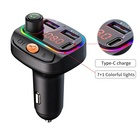 2021 New colorful atmosphere light car mp3 player 3.1A Type-C car charger Multifunction BT fm transmitter for car