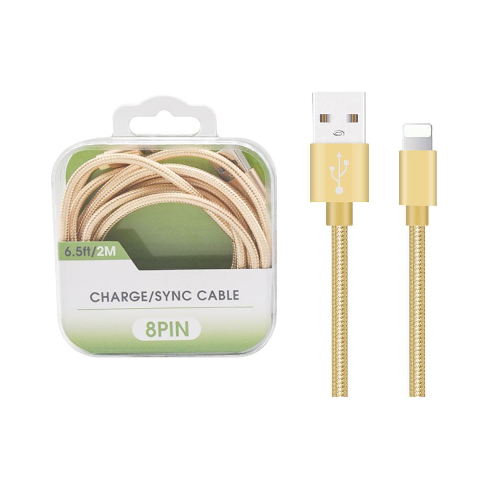 Акция, 2 А, 6 футов, кабель для зарядного устройства с нейлоновой оплеткой, USB-кабель для передачи данных, кабель для быстрой зарядки, нейлоновый плетеный шнур с прозрачной коробкой