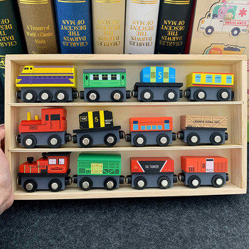 Hot selling Wooden Train Set Thomas 12 small train complete set with wooden box inertial magnetic children's toys