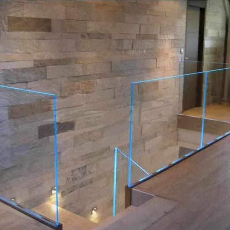 316 stainless steel frameless aluminum U channel glass balustrade balcony fence railing with led light