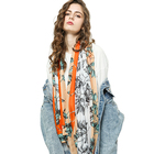 Leaf Scarf Scarf 2021 New Arrivals Fashion Women Casual Luxury Soft Shawl Scarves Side Striped Leaf Floral Print Scarf