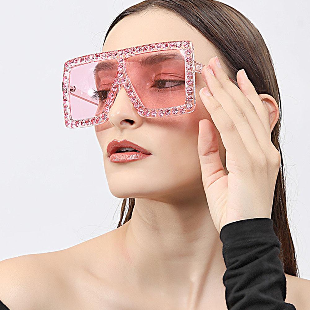 Women Sunglasses Square Vintage Bling Rhinestones Sun Glasses Oversized Shades