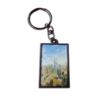 Promotional black nickel custom printed beautiful landscape metal keychain