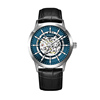 Silver case, blue dial, black leather
