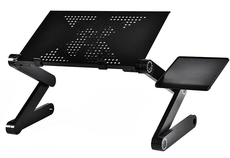 Foldable Laptop Stand Aluminum Adjustable,Ergonomic Desktop Laptop Bed Stand with Mouse Pad