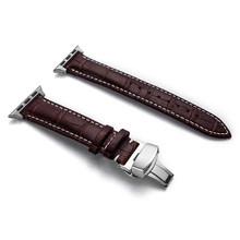 Ремешок для Apple watch, 5, 44 мм, 40 мм, Бабочка, пряжка Iwatch, ремешок 42 мм, 38 мм, кожаный ремешок для часов, браслет correa для серии 6 4 3(Китай)