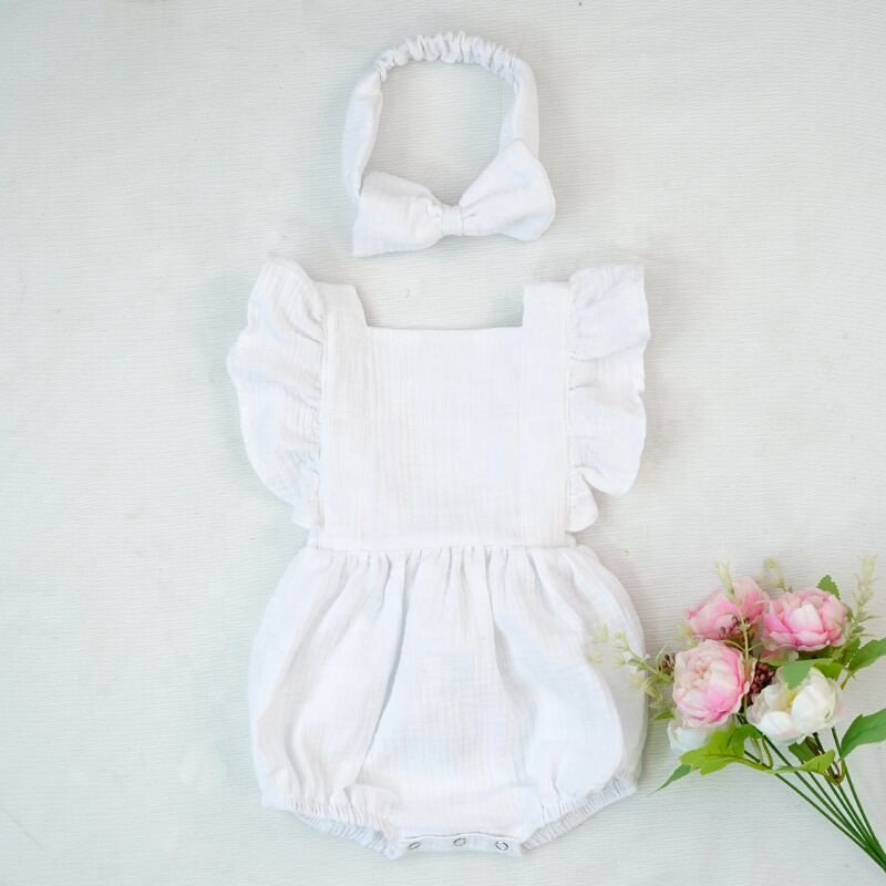 New 100% Cotton Baby ruffle rompers Climbing Clothes Lotus Leaf Lace Summer Clothing Girl Baby Romper Hair Band Set