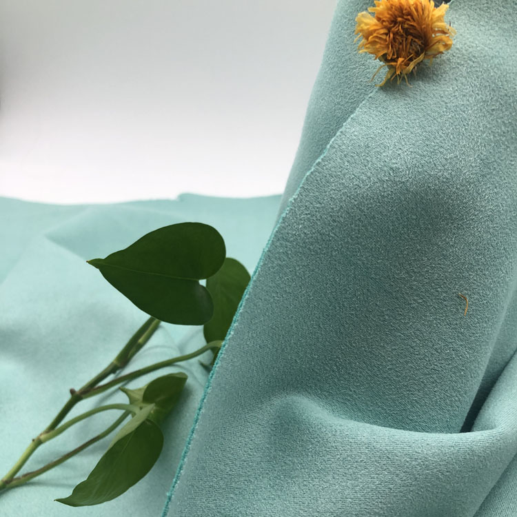 blue color well stretched spandex suede fabric wholesale for windcoat