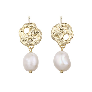 925 Sterling Silver Pave Baroque Pearl Drop Earrings Fashion Gold Plated Pearl Earrings