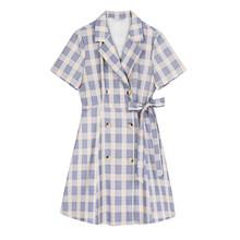 Женское платье-рубашка EAM, фиолетовое платье-рубашка с коротким рукавом и отложным воротником, весенне-летняя мода 2020 1U973(Китай)