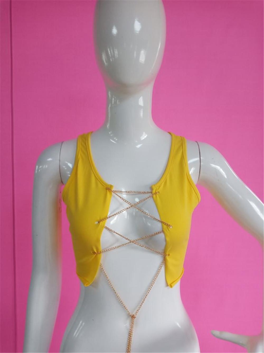 B31526A 2018 Летняя мода для молодых девушек сексуальная цепочка большой грудь футболки