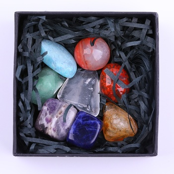 Wholesale 7 Chakra white quartz Gift Meditation set Crystals Healing Stone box Sets