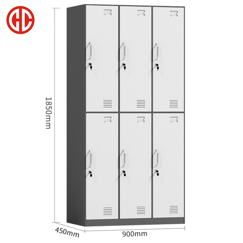 Customized work school gym iron metal handle locker cabinet staff student children steel storage box 6 door clothes lockers