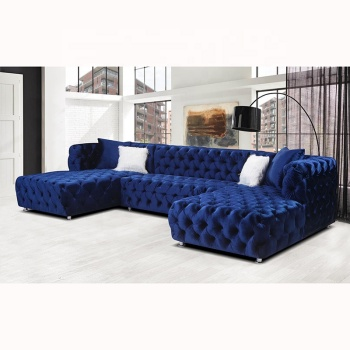 Commercial home furniture European style sectional sofa l shaped velvet sofa set
