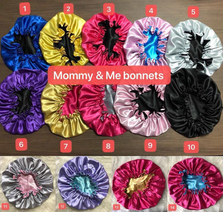 best selling double layer satin hair bonnets logo mommy and me bonnets reversible hair bonnets silk